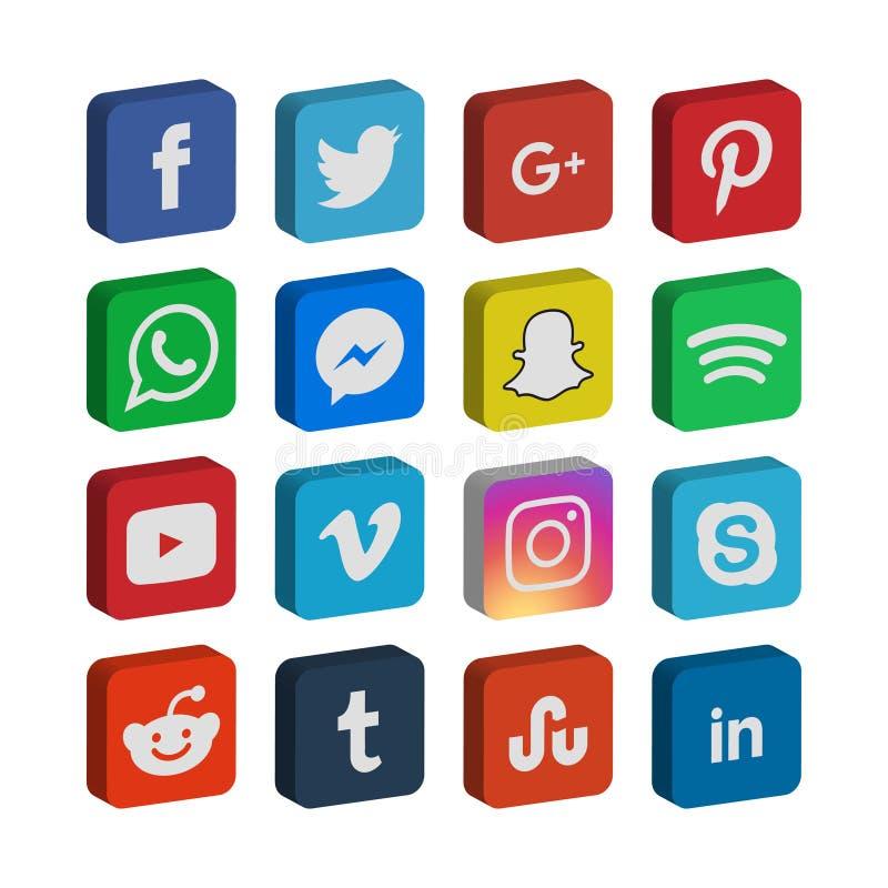 raccolta 3d del vettore sociale del modello dell'icona di media illustrazione di stock