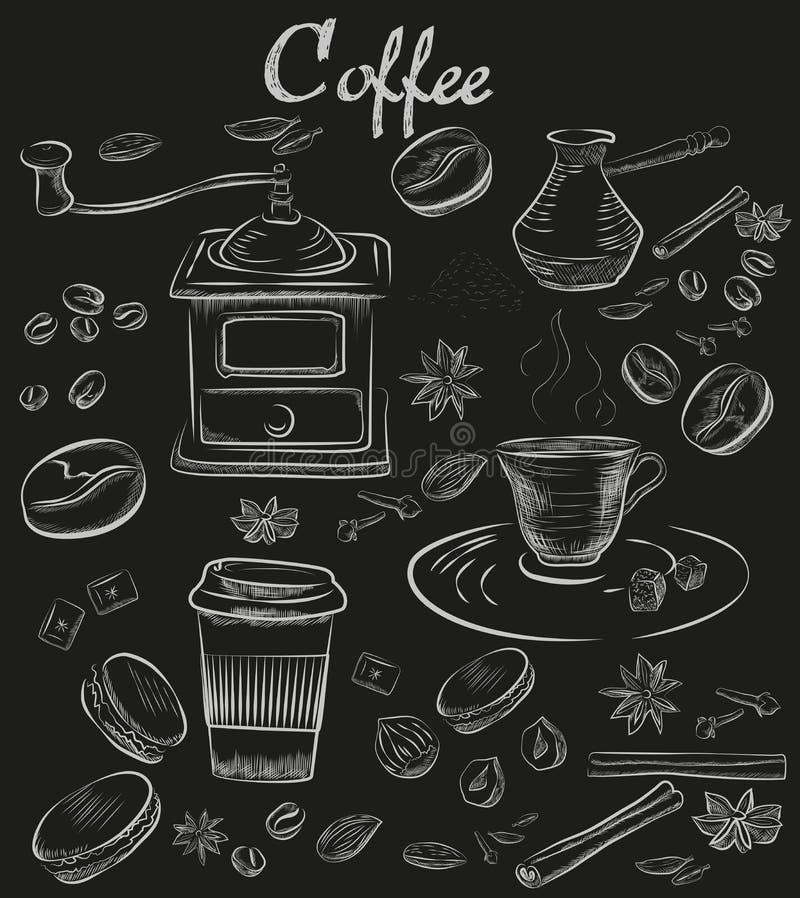 Raccolta decorativa del caffè della lavagna disegnata a mano del gesso Insieme di caffè d'annata illustrazione di stock