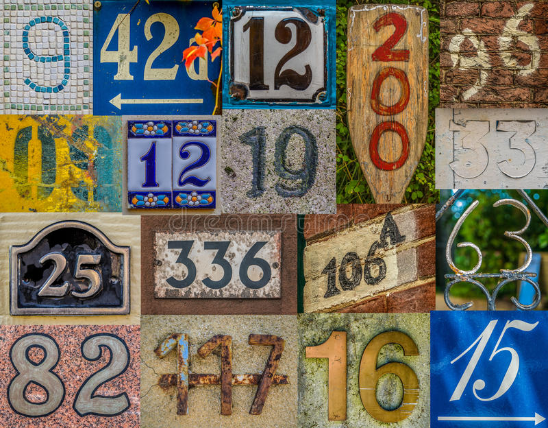 Raccolta decorativa del numero civico fotografia stock libera da diritti