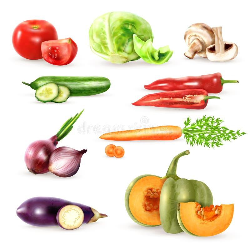 Raccolta decorativa delle icone delle verdure illustrazione di stock