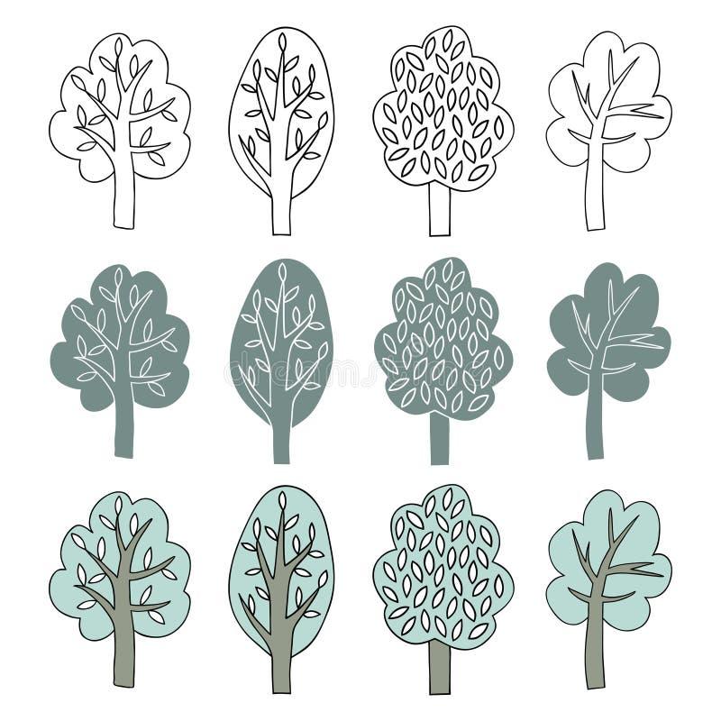 Raccolta degli alberi illustrazione di stock