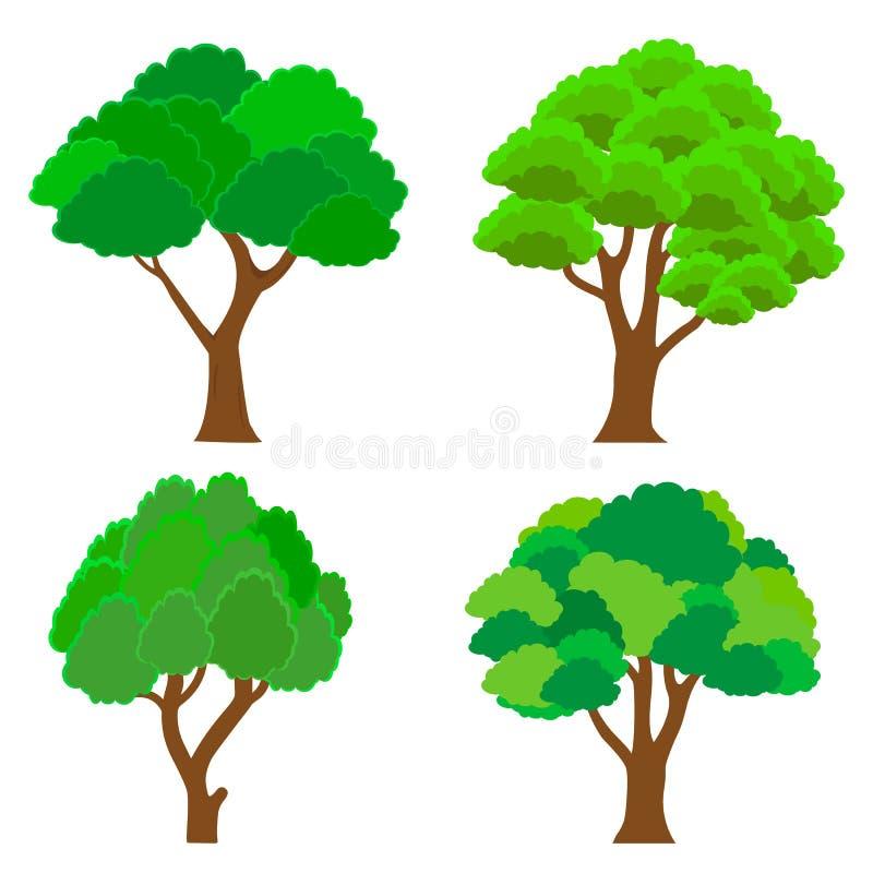 Raccolta degli alberi Insieme dell'albero isolato su fondo bianco Illustrazione di vettore royalty illustrazione gratis