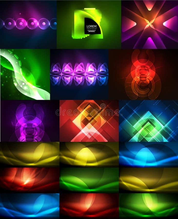 Raccolta degli ambiti di provenienza astratti d'ardore del neon, modelli magici di energia messi illustrazione di stock