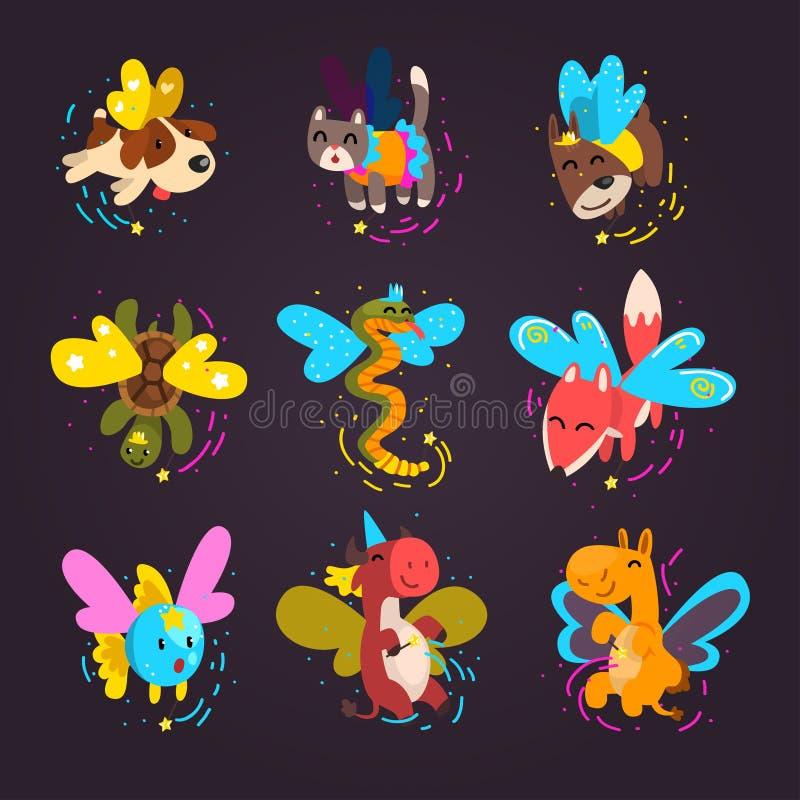 Raccolta degli animali alati svegli con bacchette magiche, cane di fiaba di fantasia, gatto, tartaruga, volpe, serpente, mucca, p illustrazione vettoriale