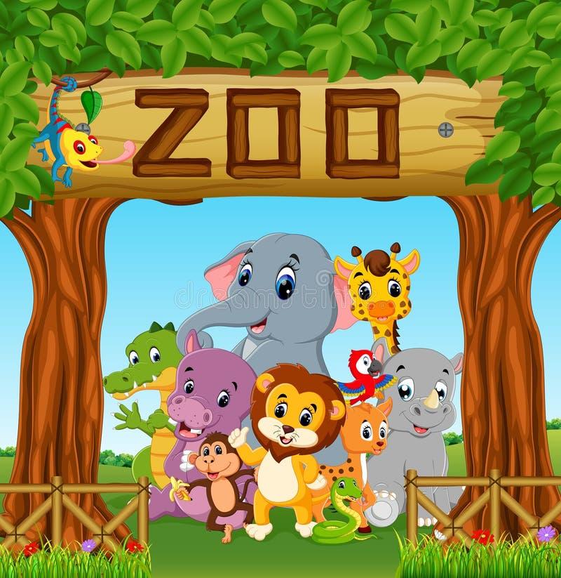 Raccolta degli animali dello zoo con la guida illustrazione di stock