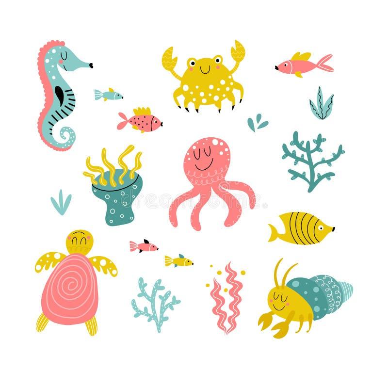 Raccolta degli animali di mare del fumetto fotografia stock
