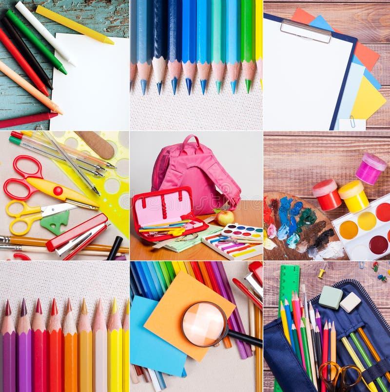 Raccolta degli articoli per ufficio e della scuola fotografie stock libere da diritti
