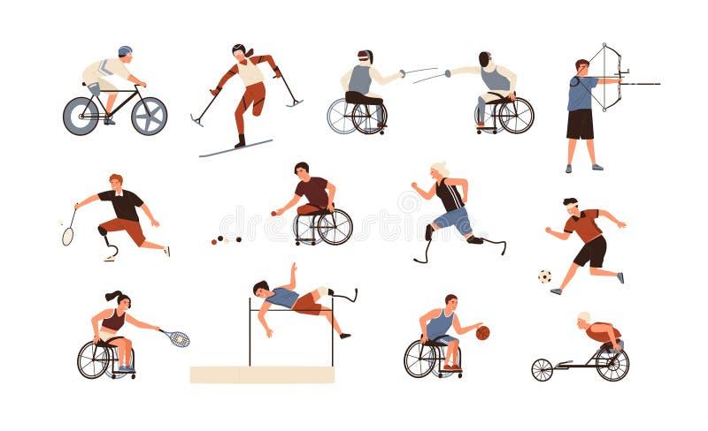 Raccolta degli atleti paralimpici maschii e femminili isolati su fondo bianco Pacco dei disabili con illustrazione vettoriale