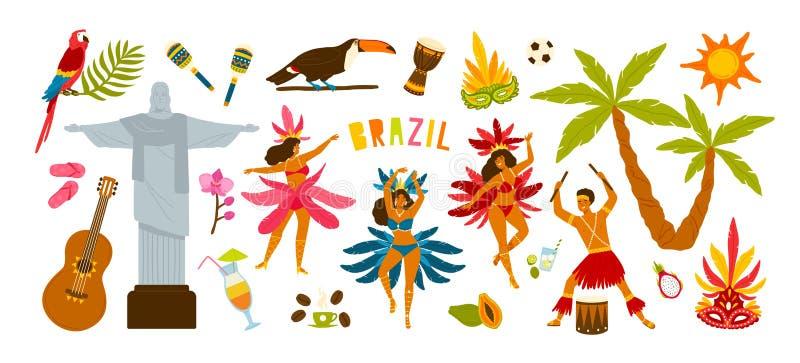 Raccolta degli attributi tradizionali di carnevale brasiliano - ballerini femminili che ballano samba, musicista che gioca sui ta illustrazione di stock