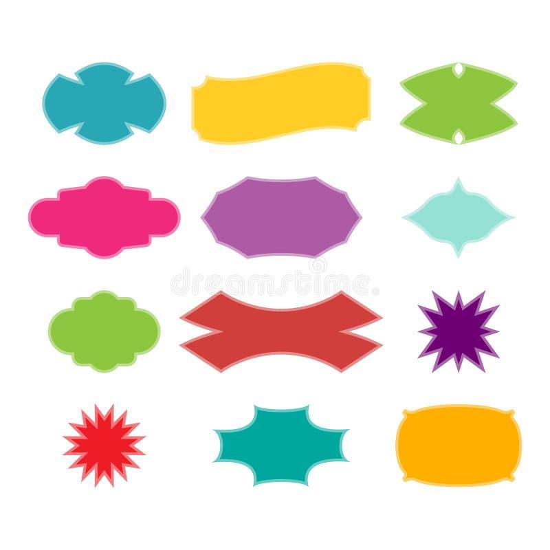 Raccolta degli autoadesivi, delle etichette, delle insegne e delle etichette di web illustrazione di stock