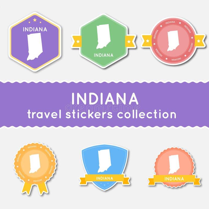 Raccolta degli autoadesivi di viaggio dell'Indiana illustrazione vettoriale