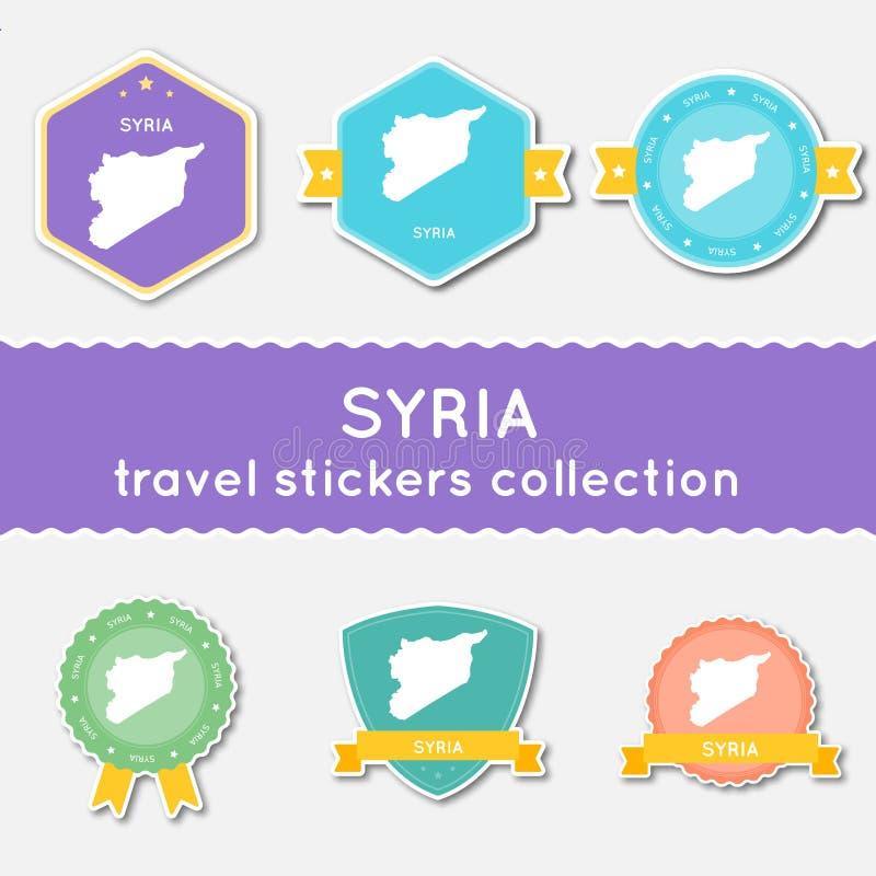 Raccolta degli autoadesivi di viaggio della Repubblica araba siriana illustrazione vettoriale