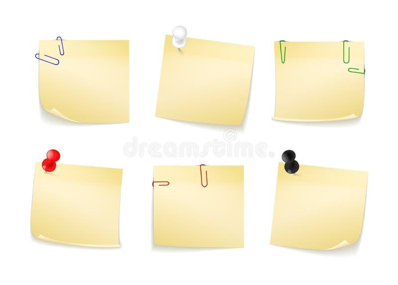 Raccolta degli autoadesivi gialli differenti per le vostre note Bottoni e graffette allegati illustrazione vettoriale