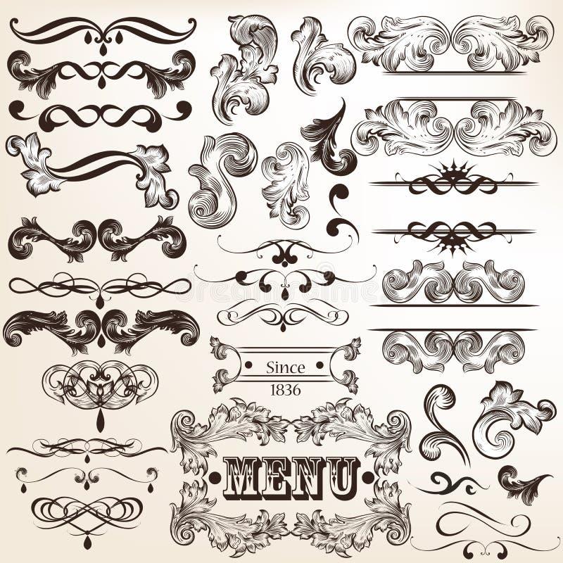 Raccolta degli elementi calligrafici decorativi di vettore d'annata royalty illustrazione gratis