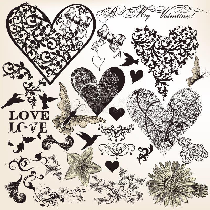 Raccolta degli elementi calligrafici di vettore sul tema di amore nel vint illustrazione di stock