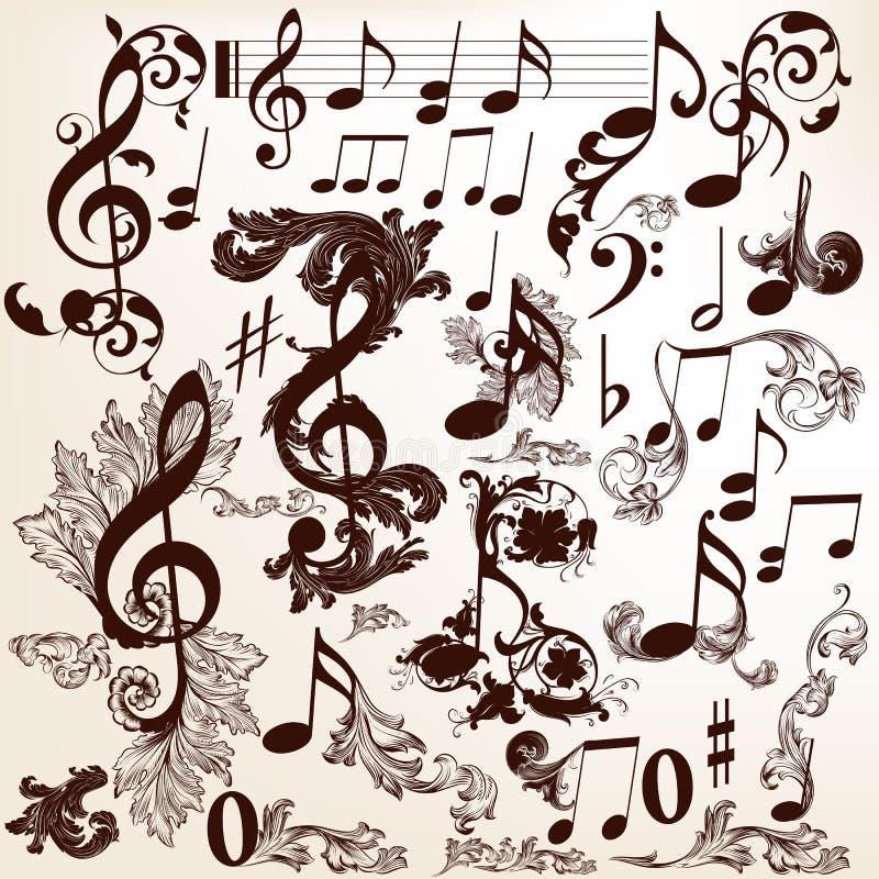 Raccolta degli elementi decorativi di musica di vettore con i turbinii e la t illustrazione di stock