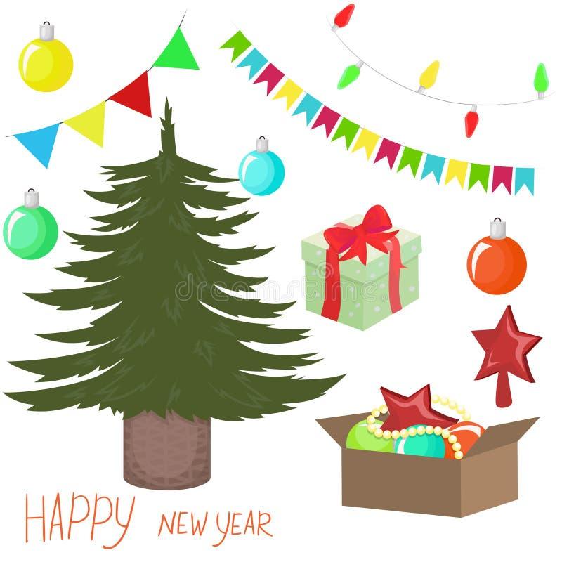 Raccolta degli elementi del nuovo anno Immagine di vettore isolata su fondo bianco illustrazione di stock