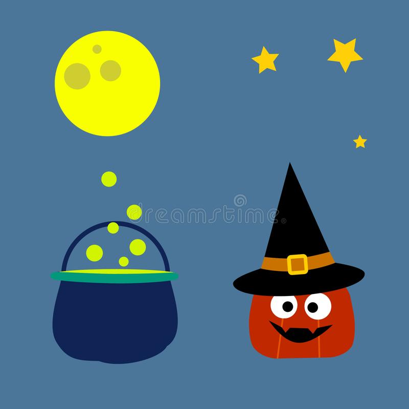 Raccolta degli elementi di Halloween Un insieme di 4 elementi: zucca sveglia in cappello della strega, luna, stelle, calderone d' illustrazione di stock