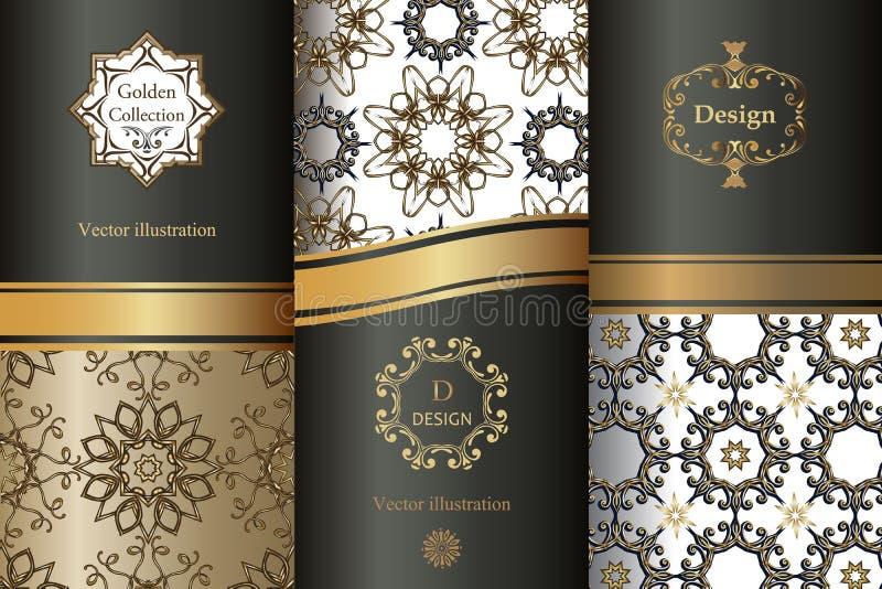 Raccolta degli elementi di progettazione, etichette, icona, strutture, per l'imballaggio, progettazione dei prodotti di lusso royalty illustrazione gratis