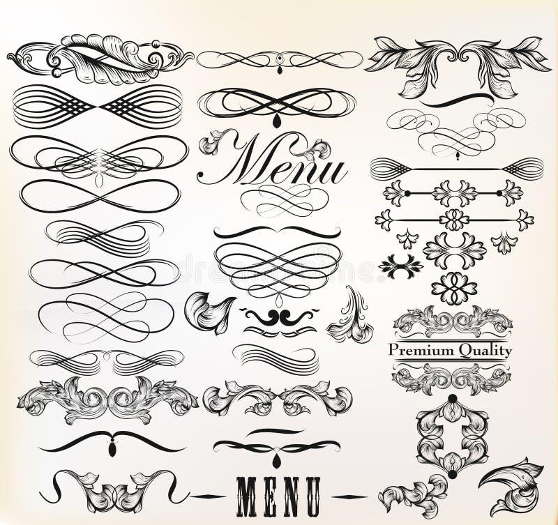 Raccolta degli elementi di retro progettazione di vettore e del PAG calligrafici illustrazione vettoriale
