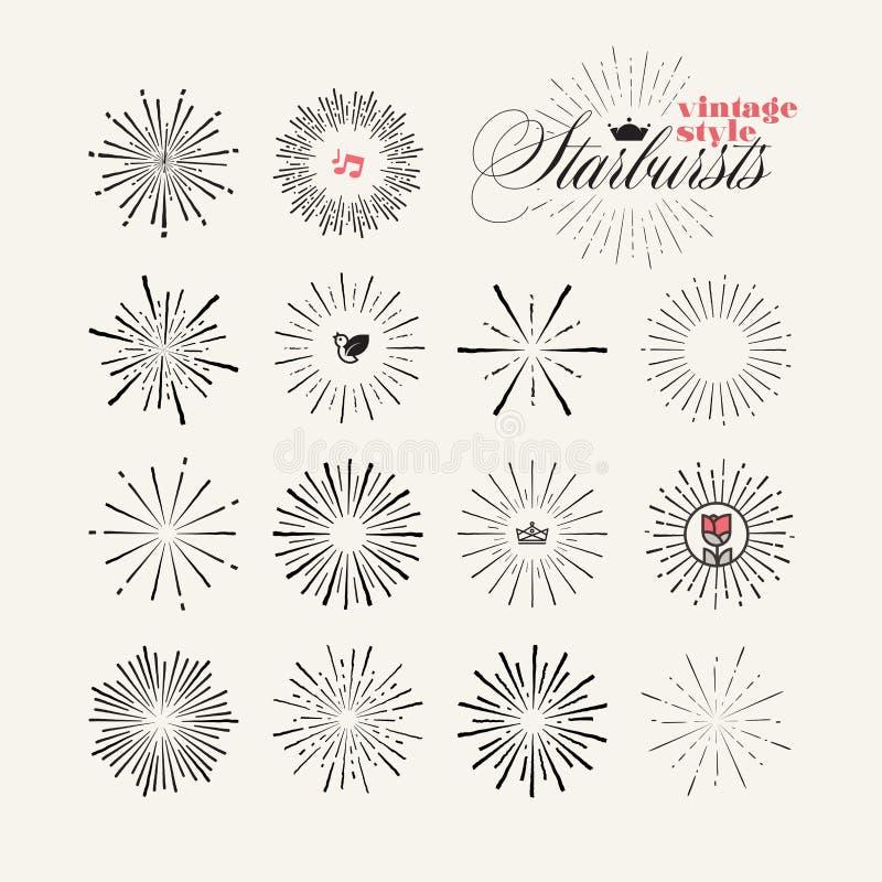 Raccolta degli elementi disegnati a mano dello starburst d'annata di stile illustrazione di stock
