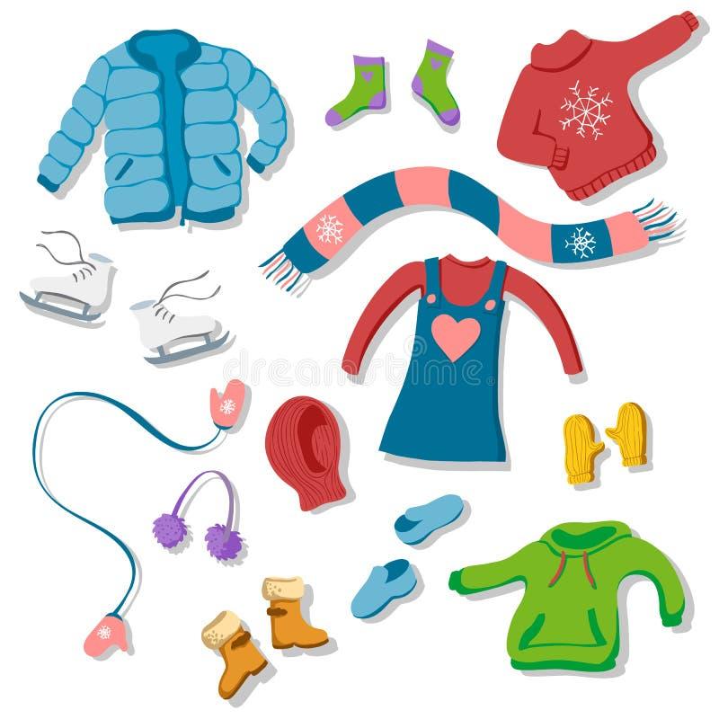 Raccolta degli elementi piani dell'abbigliamento di inverno di stile: sciarpa, guanti illustrazione di stock