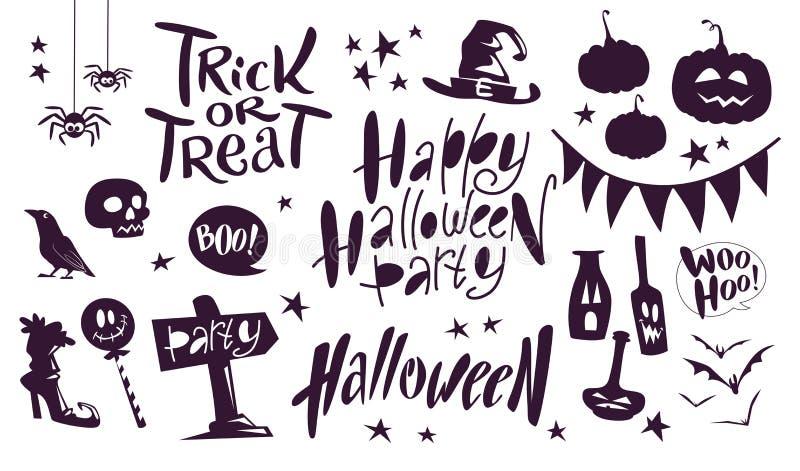 Raccolta degli elementi tradizionali sull'iscrizione bianca del fondo, ragni, zucca della decorazione di Halloween di vettore del illustrazione di stock