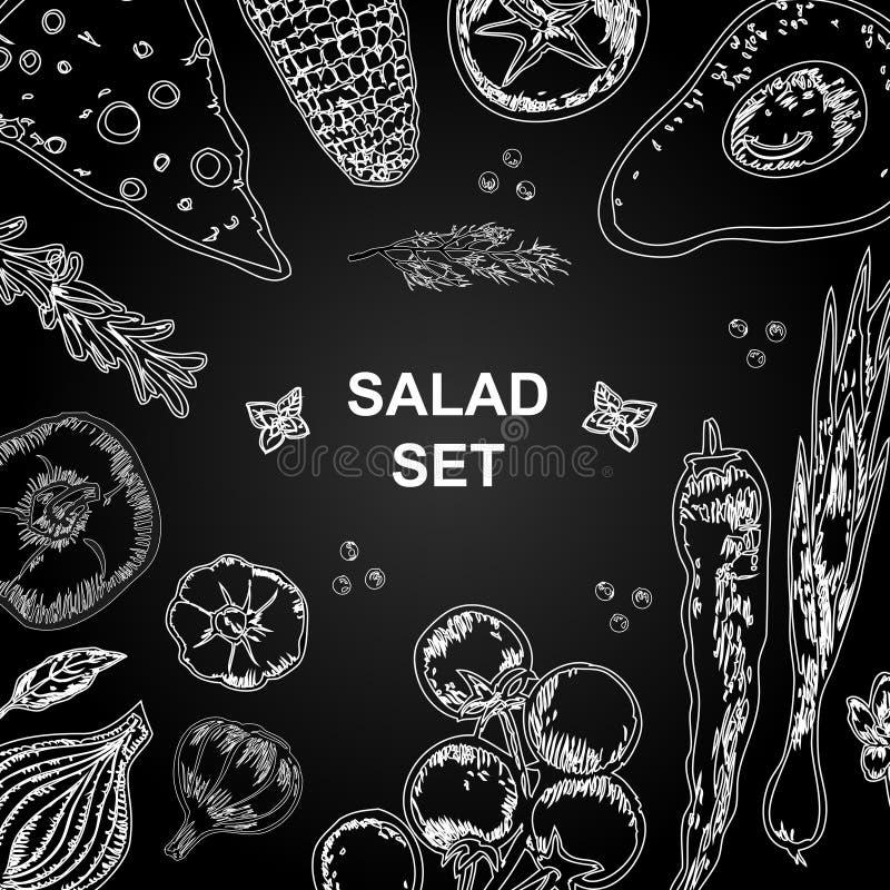 Raccolta degli ingredienti dell'insalata su fondo nero Insalata e verdure illustrazione di stock