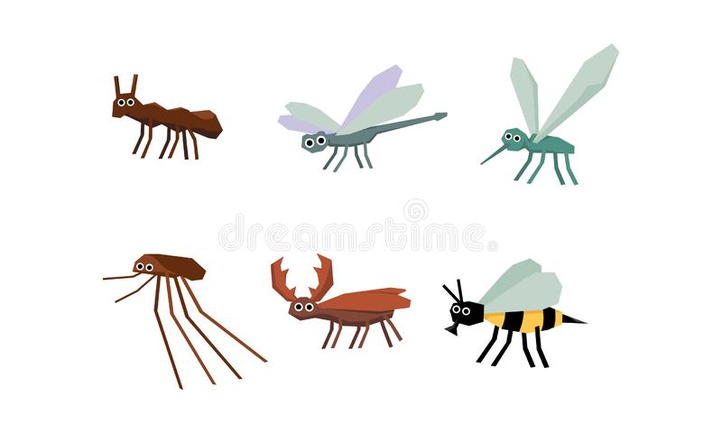 Raccolta degli insetti geometrici insieme, zanzara, libellula, cervo dello scarabeo, ape, illustrazione di vettore su un fondo bi illustrazione di stock