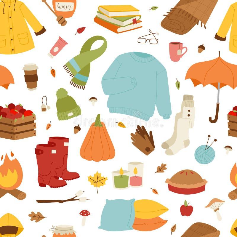 Raccolta degli oggetti di autunno illustrazione di stock