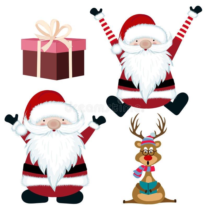 Raccolta degli oggetti di Natale isolata su fondo bianco illustrazione di stock