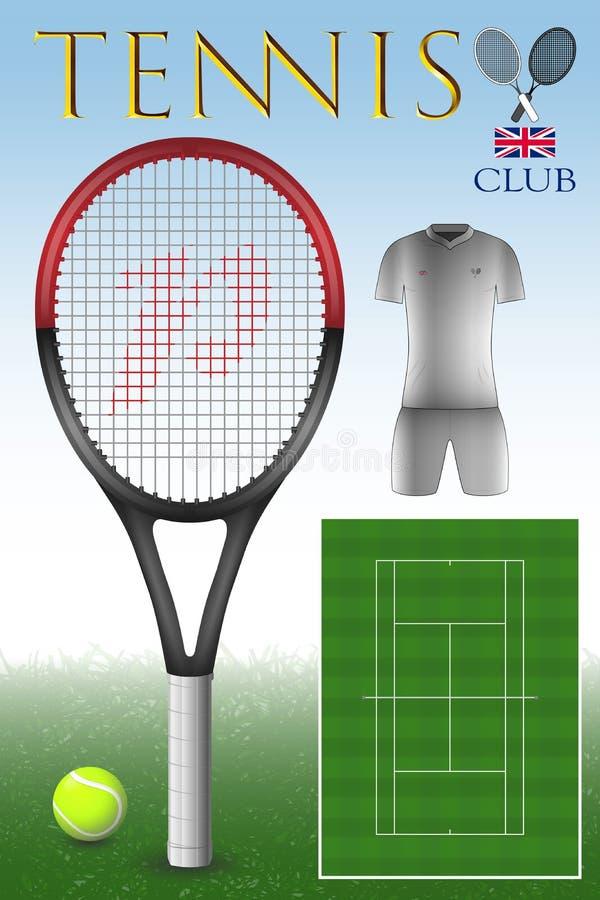 Raccolta degli oggetti di tennis illustrazione vettoriale