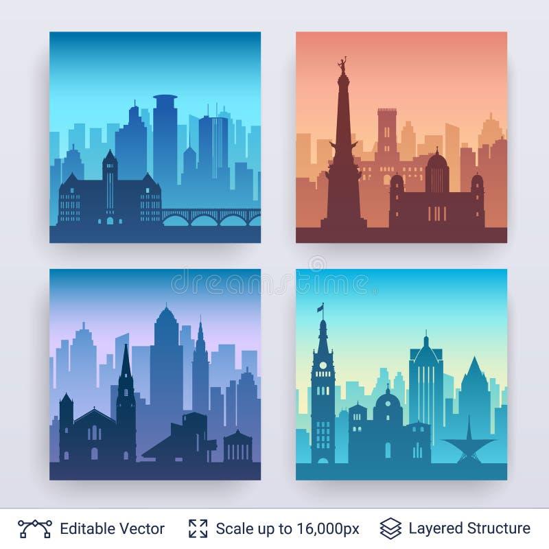 Raccolta degli scapes famosi della città illustrazione vettoriale