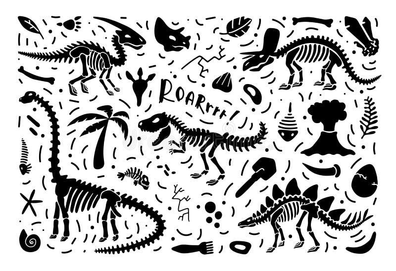 Raccolta degli scheletri e dei fossili del dinosauro, un insieme delle piante, animali ed elementi di paleontologia Vettore illustrazione vettoriale