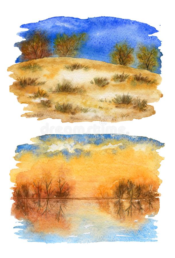 Raccolta degli schizzi del paesaggio di autunno Illustrazione dell'acquerello illustrazione vettoriale