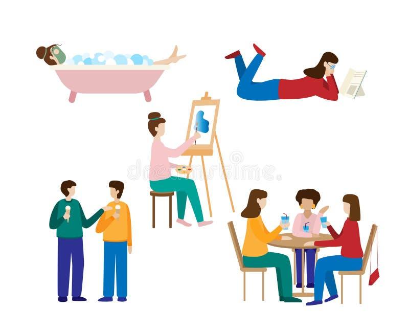 Raccolta degli uomini e delle donne che spendono fine settimana illustrazione vettoriale