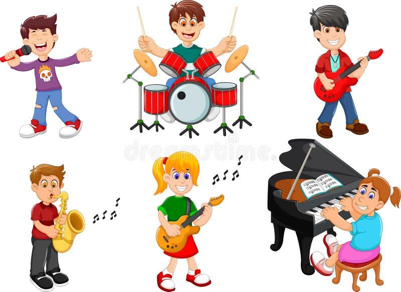 Raccolta dei bambini che cantano e che giocano gli strumenti musicali illustrazione di stock