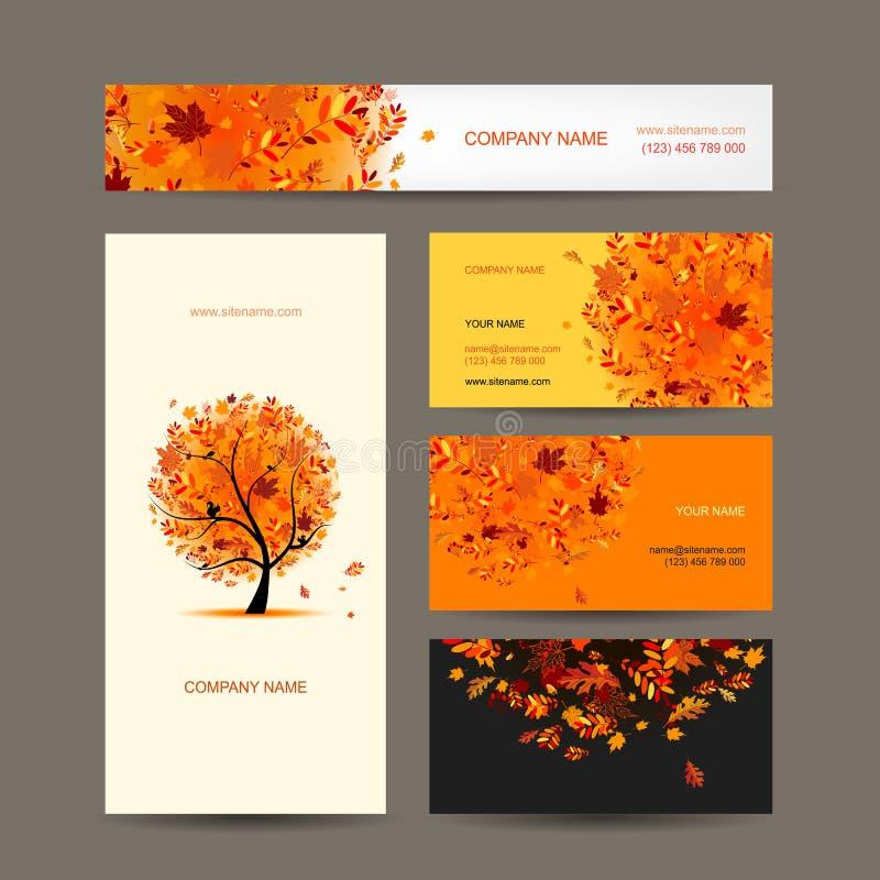 Raccolta dei biglietti da visita con progettazione dell'albero di autunno illustrazione vettoriale