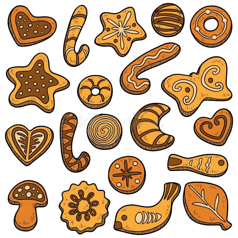 Raccolta dei biscotti casalinghi, insieme di vettore di cuocere di Natale illustrazione vettoriale