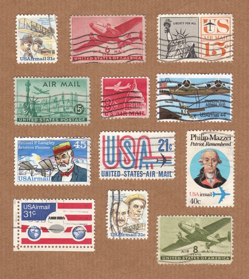 Raccolta dei bolli d'annata di posta aerea di U.S.A. immagini stock