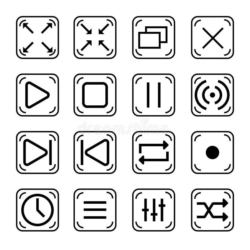 Raccolta dei bottoni del giocatore per il web illustrazione vettoriale