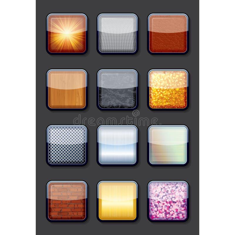 Raccolta dei bottoni strutturati vuoti brillanti Eps10 illustrazione vettoriale