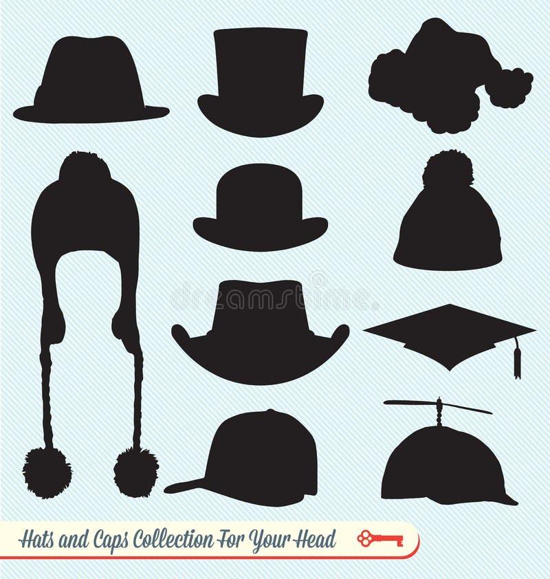 Raccolta dei cappucci e dei cappelli illustrazione vettoriale