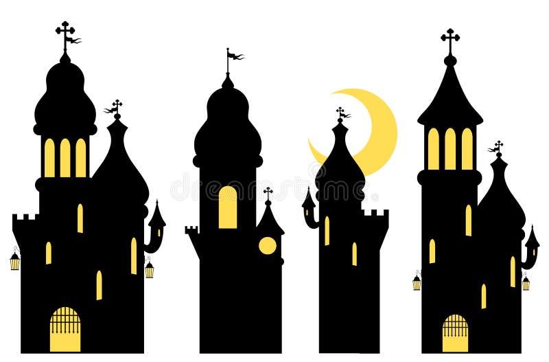 Raccolta dei castelli di fiaba siluette Isolato su bianco illustrazione di stock
