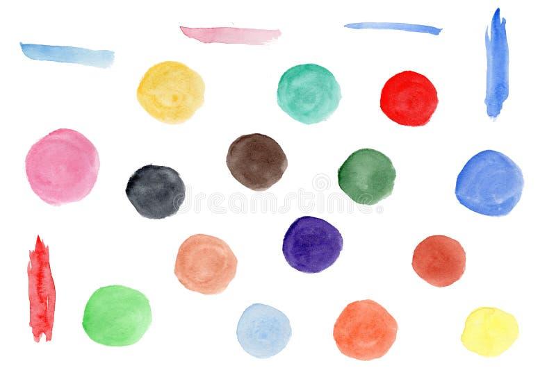 Raccolta dei cerchi variopinti dell'acquerello luminoso royalty illustrazione gratis