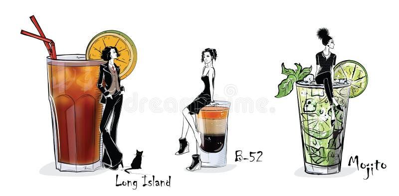 Raccolta dei cocktail popolari per il menu illustrazione di stock