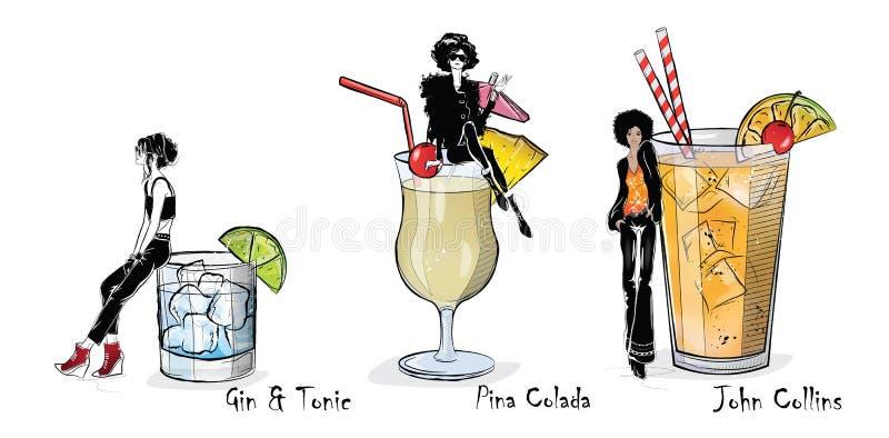 Raccolta dei cocktail popolari per il menu royalty illustrazione gratis