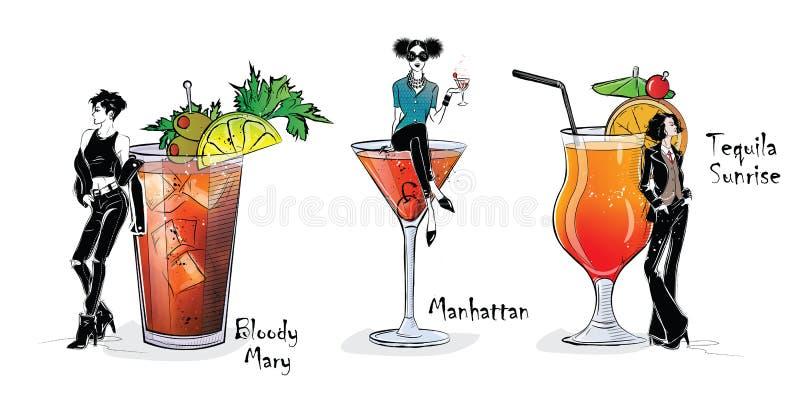 Raccolta dei cocktail popolari per il menu illustrazione vettoriale