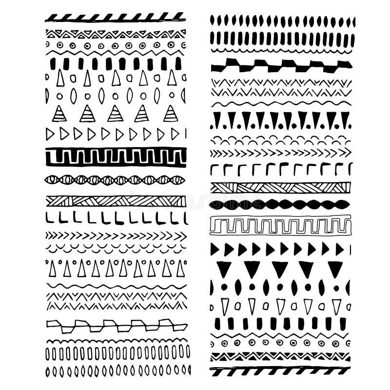 Raccolta dei confini disegnati a mano del monogramma nello stile etnico Divisori aztechi di arte, elemento di progettazione dell' illustrazione vettoriale