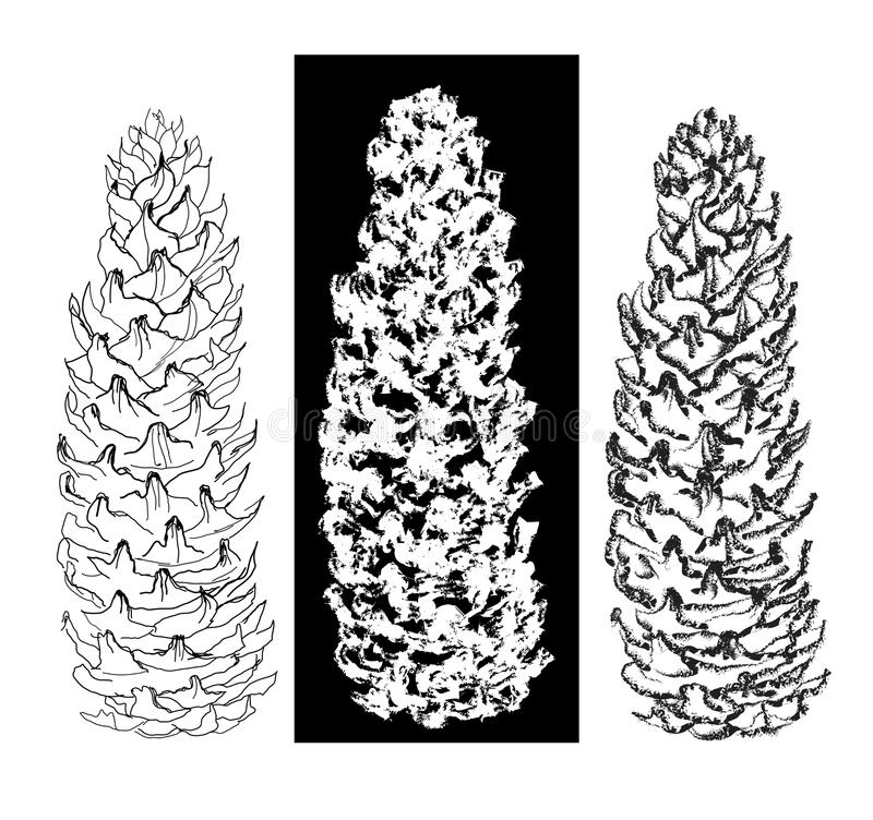 Raccolta dei coni del disegno di spazzola e della penna illustrazione di stock